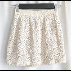 Club Monaco blush pink crochet mini skirt